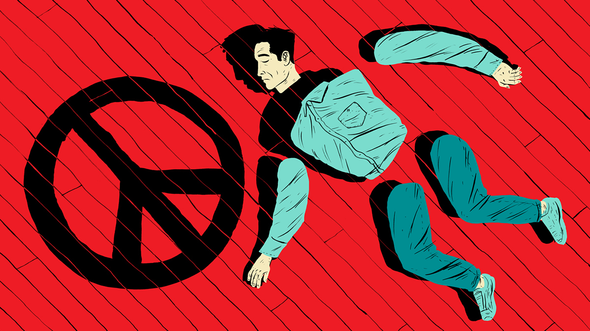 Illustration of a man broken into parts next to a CND symbol