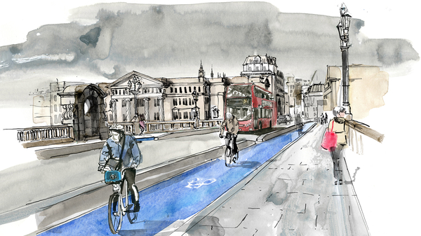A painted scene of London showing a cyclist, bus and paedestrians
