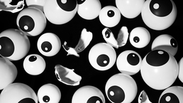 Photograph of eye balloons inflated and popping