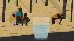illustration of people being sick on a river bank