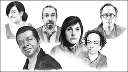 Black-and-white illustrations of Maeve Higgins, Stephen K Amos, Alfie Moore, Josie Long, Liz Carr and Jon Ronson