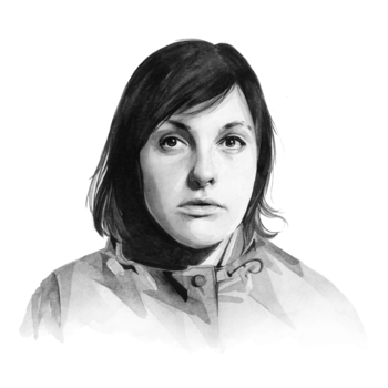 A black-and-white illustration of Josie Long
