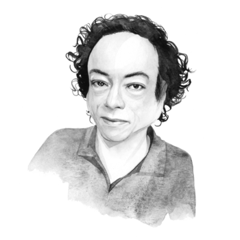 A black-and-white illustration of Liz Carr
