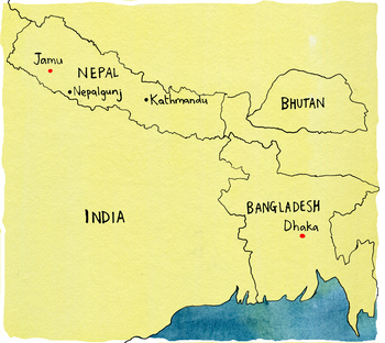 A hand-drawn map showing India, Nepal, Bhutan and Bangladesh
