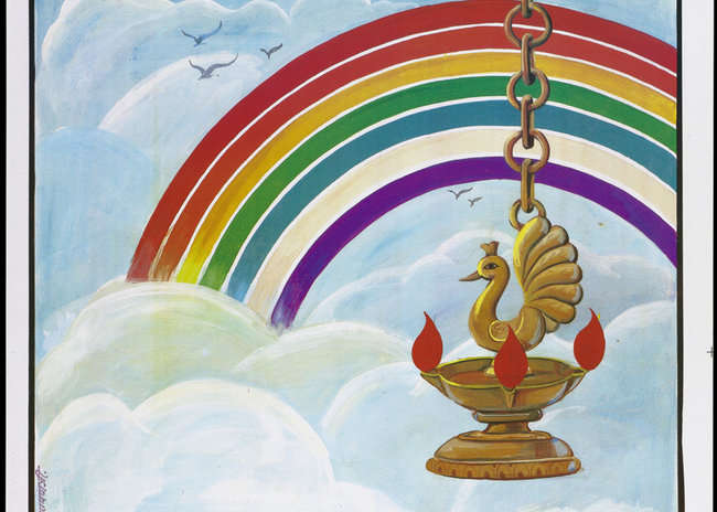 A poster showing a bird within a golden vessel emitting red flames and appearing to hang from a chain from the sky with a rainbow beyond; an anti-AIDS advertisement.