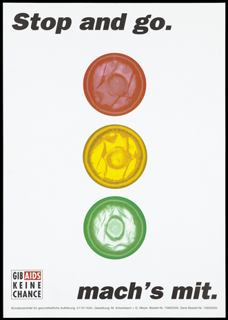 Poster showing traffic lights with three condoms (red, yellow and green) for lights, representing protection against AIDS. Colour lithograph after M Kolvenbach and G Meyers.