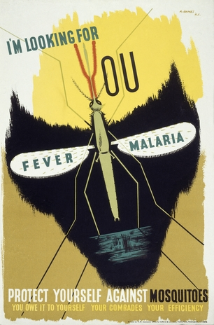 A mosquito forming the eye-sockets of a skull, representing death from malaria. By Abram Games, 1941.