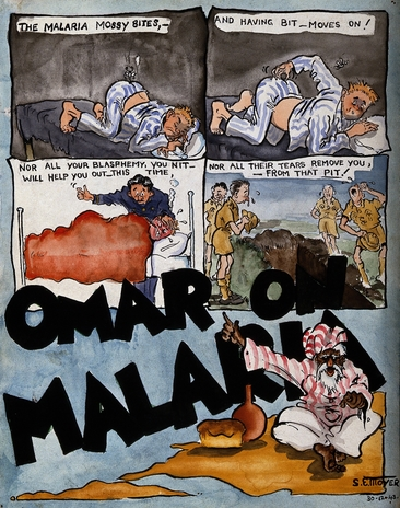 Satirical sketches about malaria by S E Moyer, 1943.