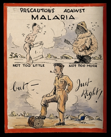 Advice to British soldiers about malaria. By Copp, c 1944.