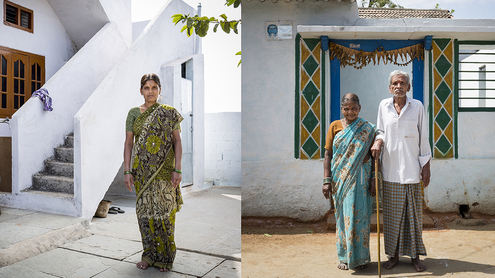 Nagamani moved to a newly built house on the outskirts of town a few years ago. Her parents stayed behind in their village.