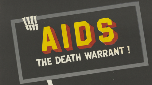 """""""Aids: TheDeath Warrant!""""; an AIDS prevention advertisement by the Central Health Education Bureau in New Delhi. Colour lithograph, c.1990s."""
