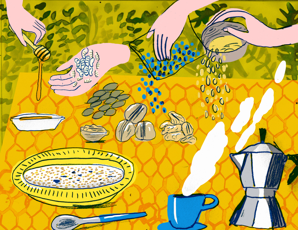 An illustration for bee larvae granola