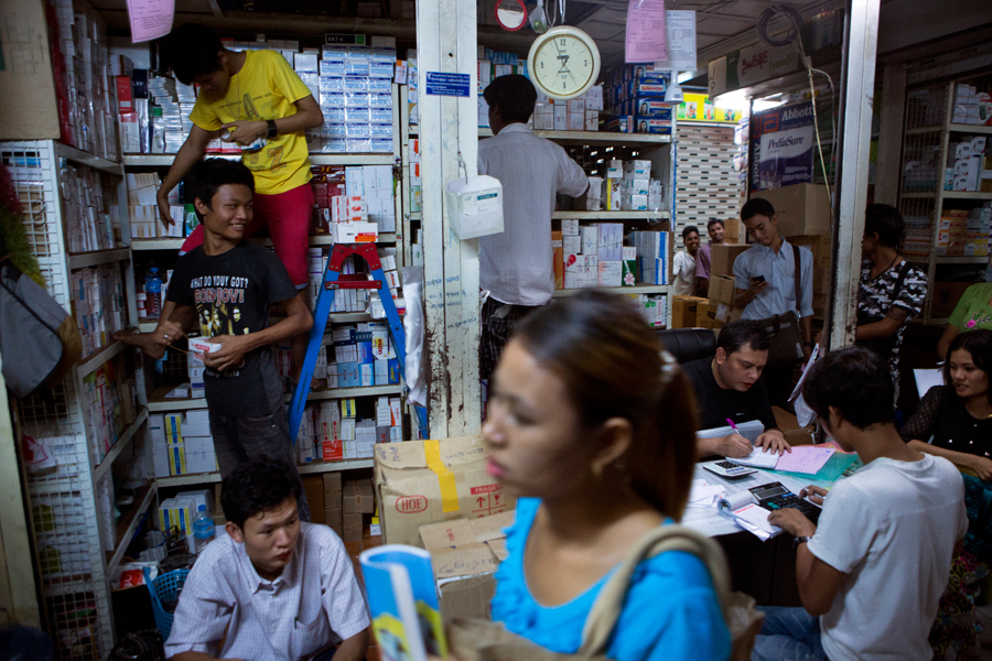 Mingalar market in Yangon contains a large pharmaceutical section, where drugs (largely illegally imported from other countries such as India) are purchased in bulk for sale in pharmacies.