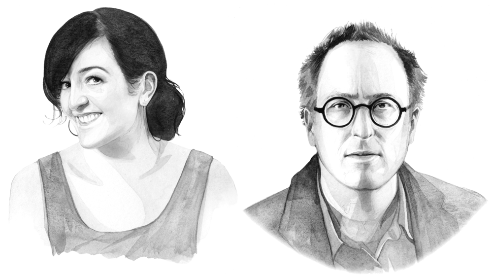 A black-and-white illustration of Maeve Higgins and Jon Ronson