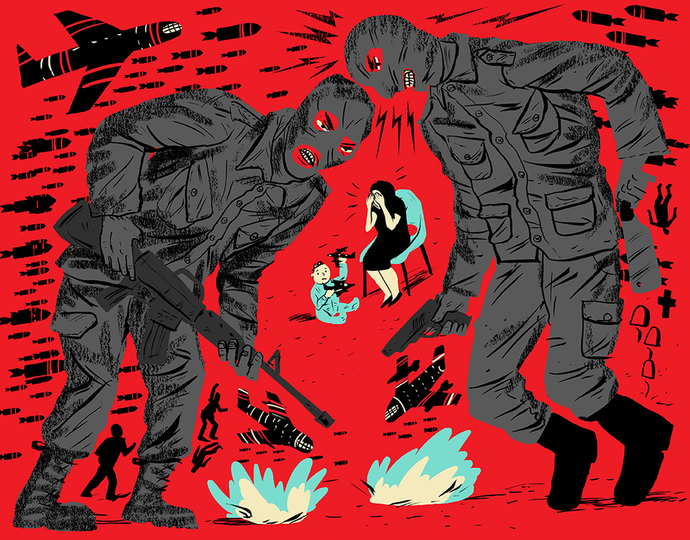 An illustration of paramilitaries and bombs surrounding a distressed woman and a child