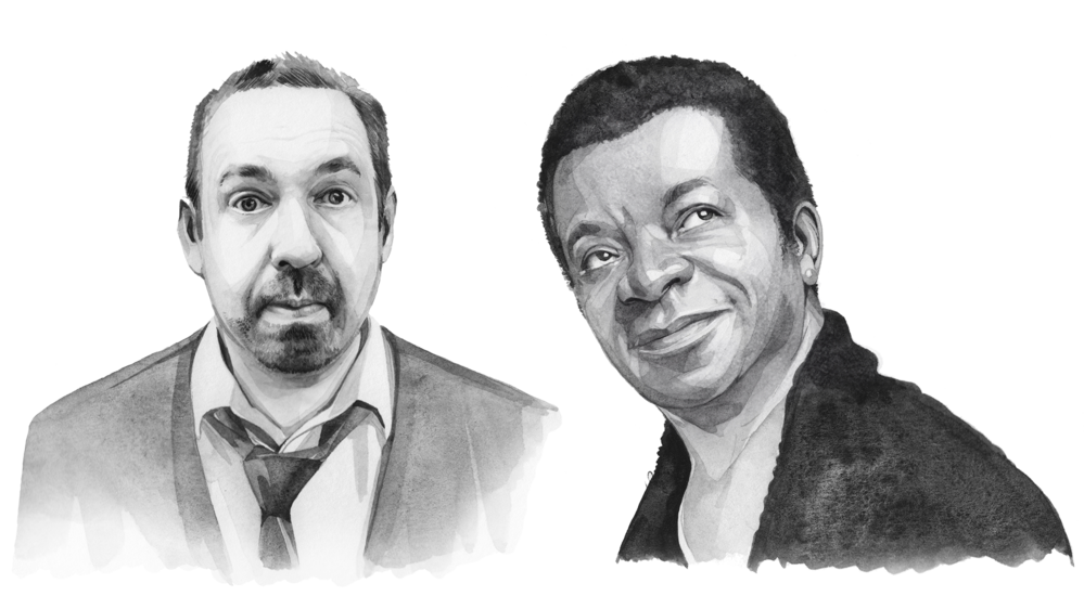 A black-and-white illustration of Alfie Moore and Stephen K Amos