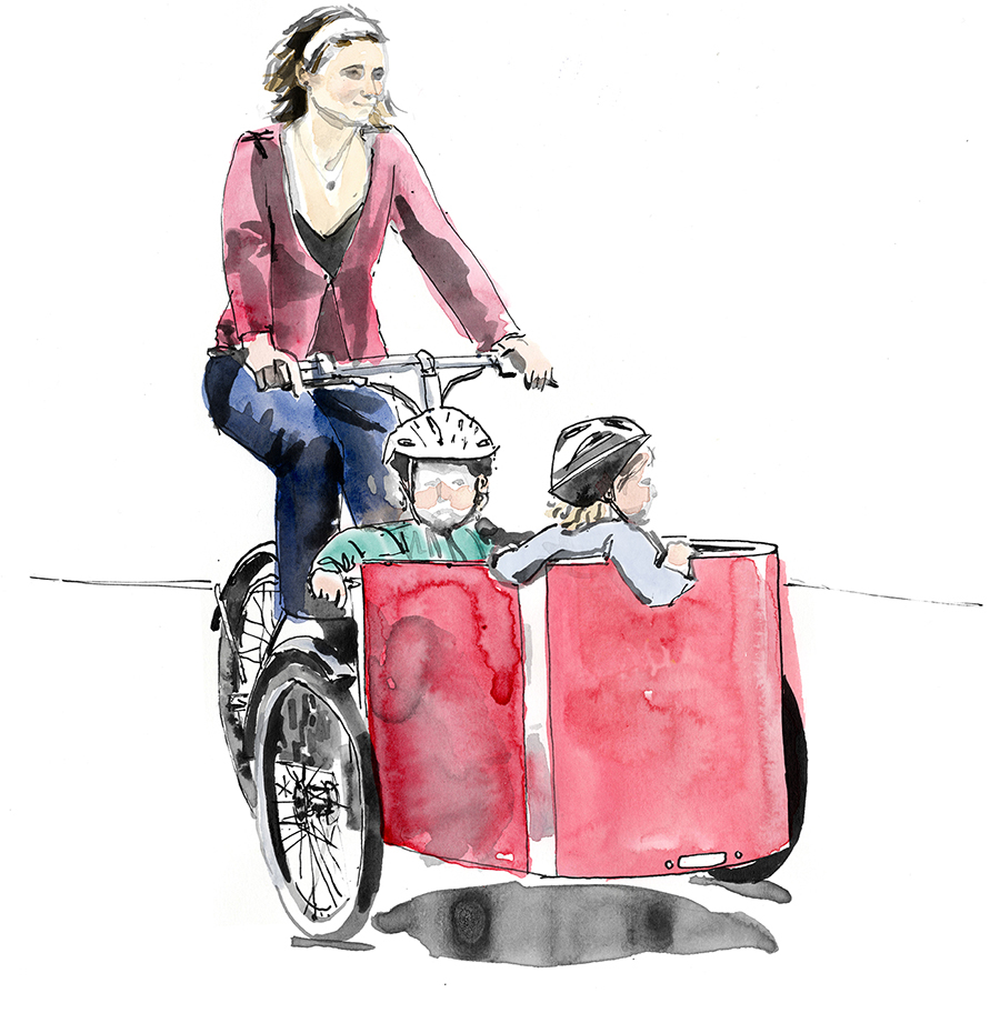 A Nihola cargo tricycle in a watercolour-style illustration